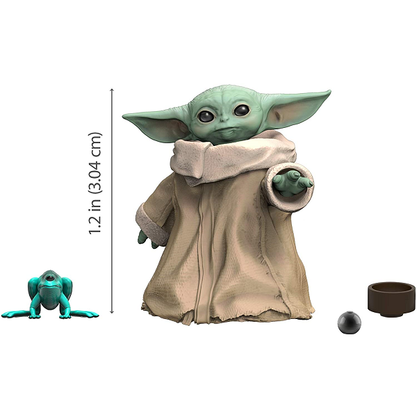the mandalorian child 1.1inch action figure in black series in action pose with measurement line