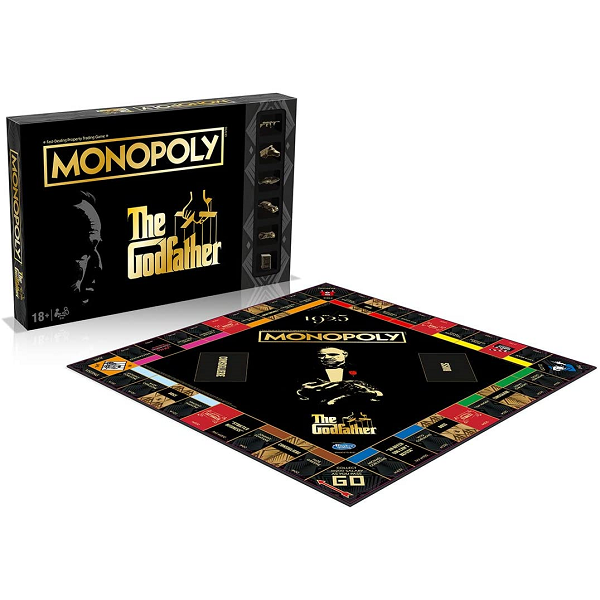 god father monopoly board with the game box behind it